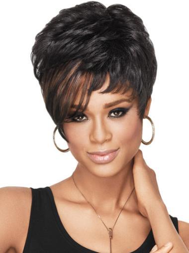Nice Black Wavy Cropped African American Wigs