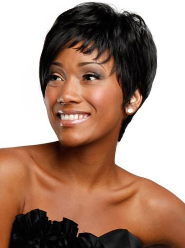 Trendy Black Straight Short African American Wigs