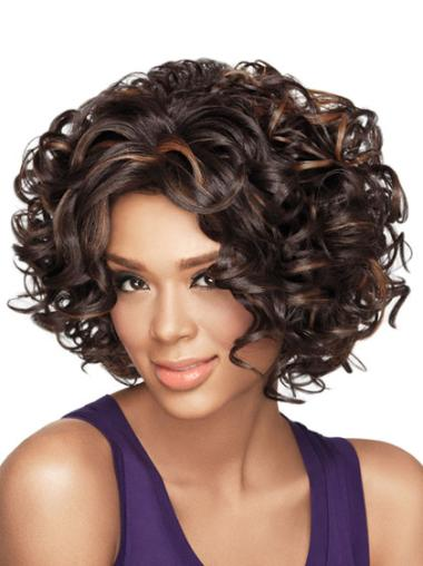 Wholesome Brown Curly Chin Length African American Wigs