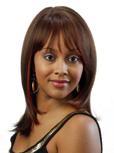Graceful Brown Straight Shoulder Length African American Wigs