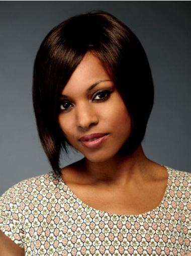 Stylish Brown Straight Chin Length African American Wigs