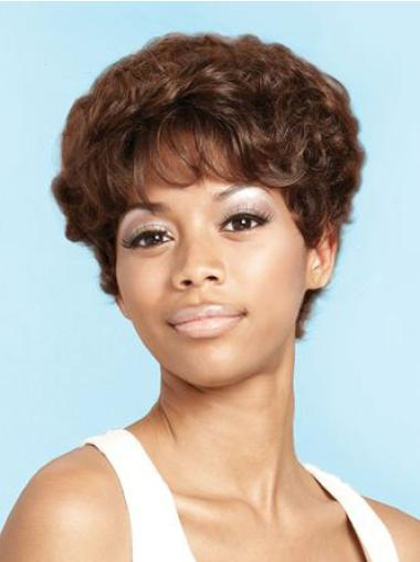 Discount Brown Curly Short African American Wigs
