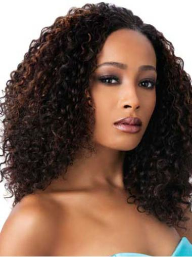 Comfortable Brown Curly Long African American Wigs