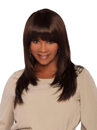 Refined Brown Straight Long African American Wigs