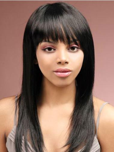 Pleasing Black Straight Long African American Wigs