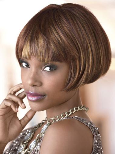 Designed Brown Straight Short African American Wigs