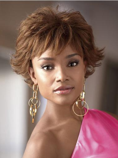 Perfect Brown Wavy Short African American Wigs