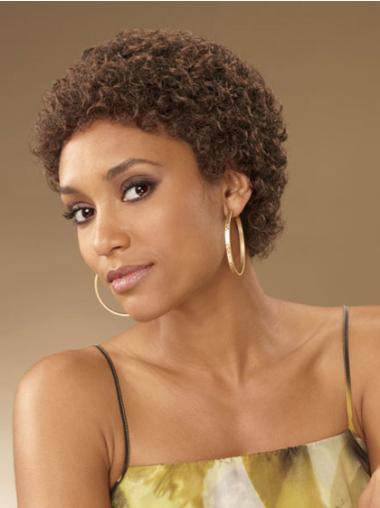 Faddish Brown Curly Short African American Wigs