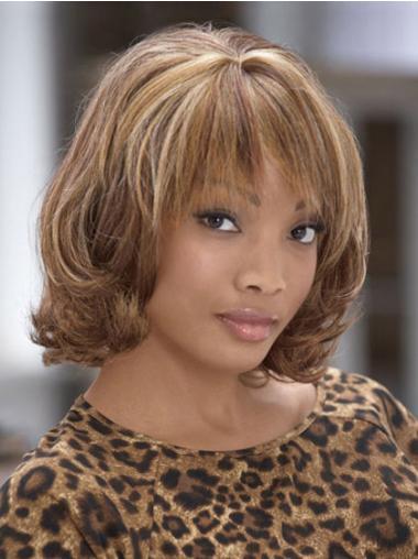 Brown Curly Synthetic Elegant Medium Wigs