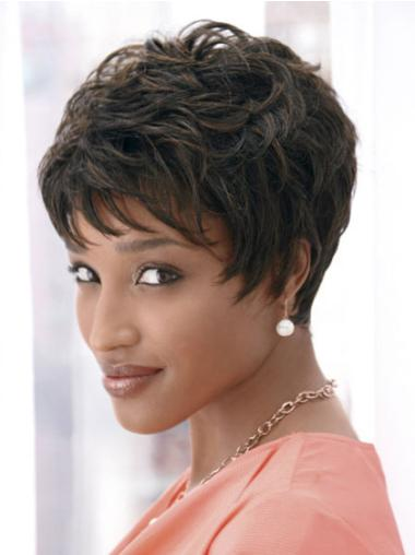 Traditiona Black Wavy Cropped African American Wigs