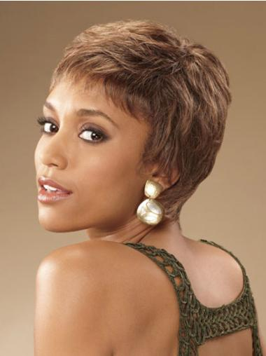 Gentle Brown Curly Cropped African American Wigs