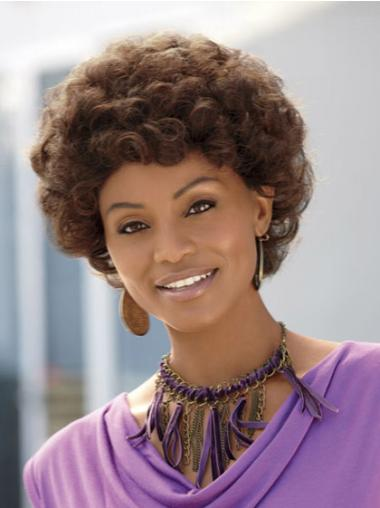 Tempting Brown Curly Short African American Wigs