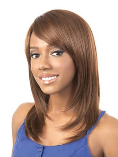 Refined Auburn Straight Shoulder Length African American Wigs