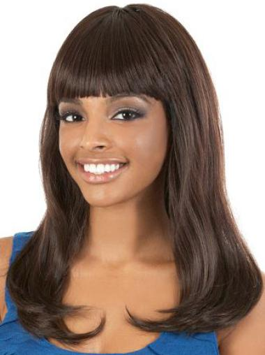 Polite Brown Straight Long African American Wigs