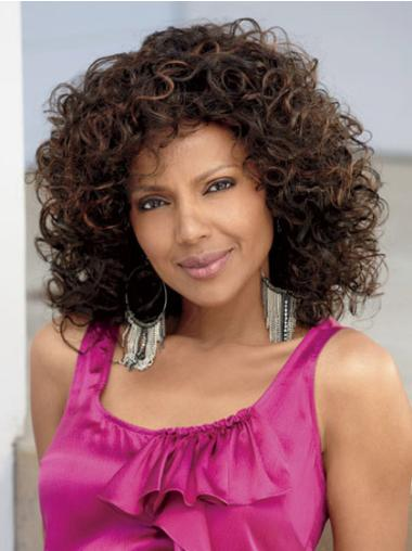 Top Brown Curly Shoulder Length African American Wigs