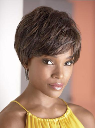 Wholesome Brown Wavy Cropped African American Wigs