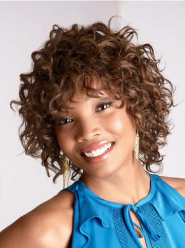 Cheapest Brown Curly Chin Length African American Wigs