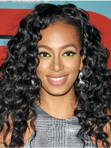 Lace Front Black Curly Preferential Glueless Lace Wigs