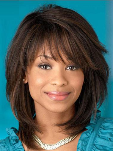 Gorgeous Brown Straight Shoulder Length African American Wigs