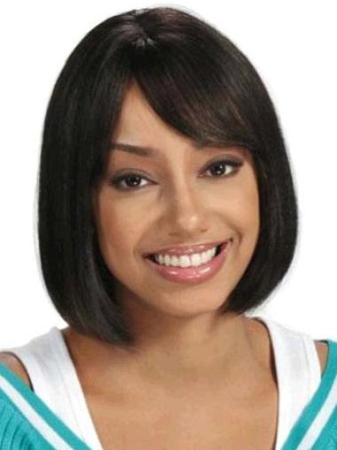 Sassy Black Straight Chin Length African American Wigs