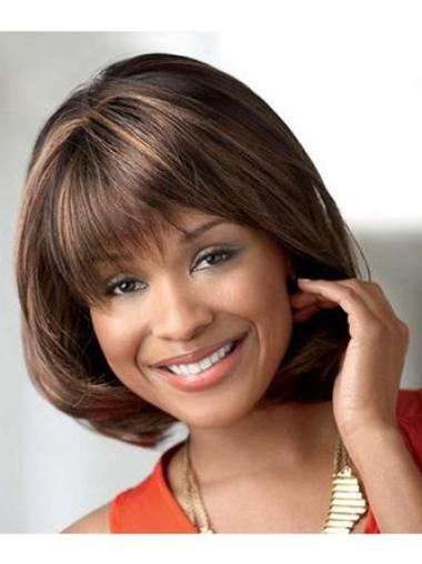 Popular Brown Straight Chin Length African American Wigs