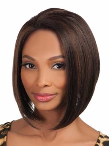 Convenient Brown Straight Chin Length African American Wigs