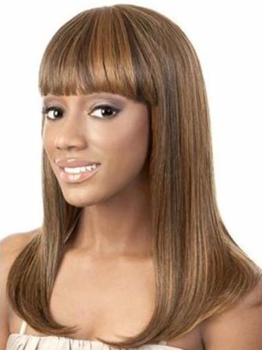 Designed Brown Straight Shoulder Length African American Wigs