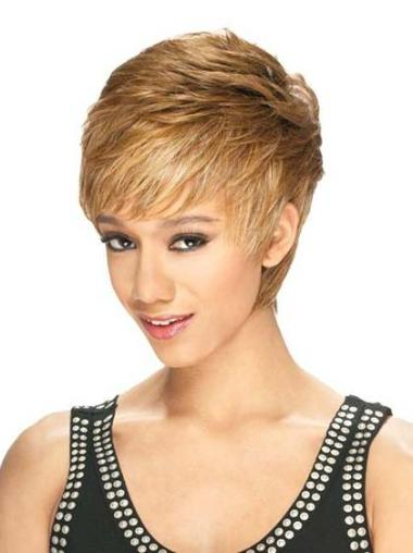 Designed Blonde Straight Cropped Lace Front Wigs