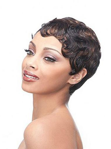 Suitable Brown Wavy Short Glueless Full Lace Wigs