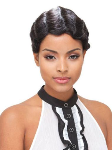 Soft Black Wavy Short Glueless Full Lace Wigs