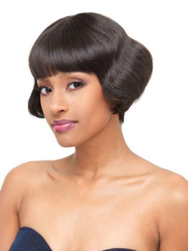 Ideal Black Wavy Short Lace Front Wigs