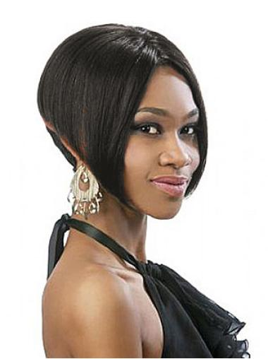 Convenient Black Straight Chin Length Glueless Lace Wigs