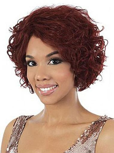 Incredible Red Wavy Chin Length African American Wigs