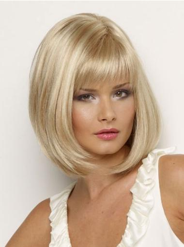 Comfortable Blonde Straight Chin Length Petite Wigs