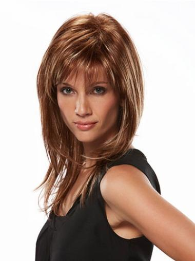 Unique Synthetic Straight Brown Long Wigs