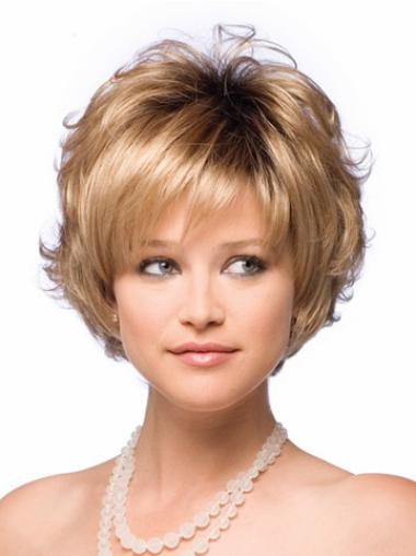 Tempting Blonde Wavy Short Synthetic Wigs