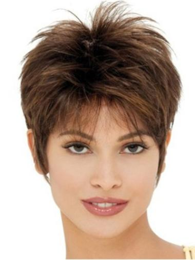 Glamorous Brown Straight Cropped Synthetic Wigs