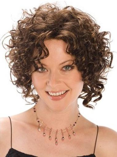 Tempting Brown Curly Chin Length Synthetic Wigs