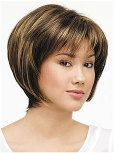 Lace Front Brown Straight Polite Medium Wigs