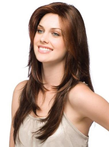 Mature Synthetic Straight Brown Long Wigs