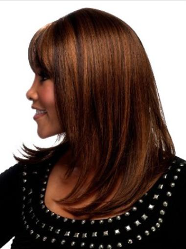 Mature Auburn Straight Shoulder Length Synthetic Wigs