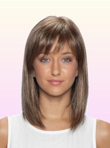 Lace Front Brown Straight Ideal Medium Wigs