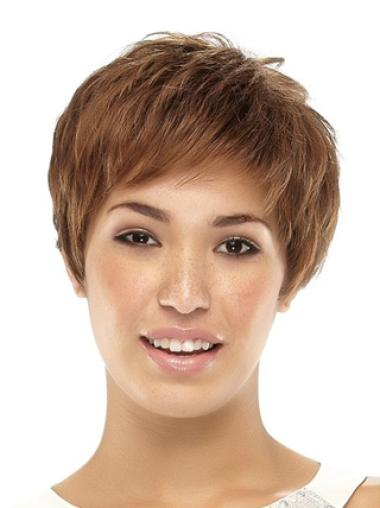 Cool Brown Straight Cropped Synthetic Wigs