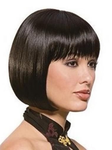 Cheap Black Straight Chin Length Synthetic Wigs