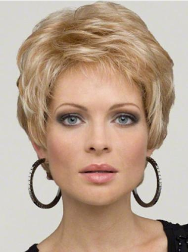 Lace Front Blonde Wavy Cheap Short Wigs