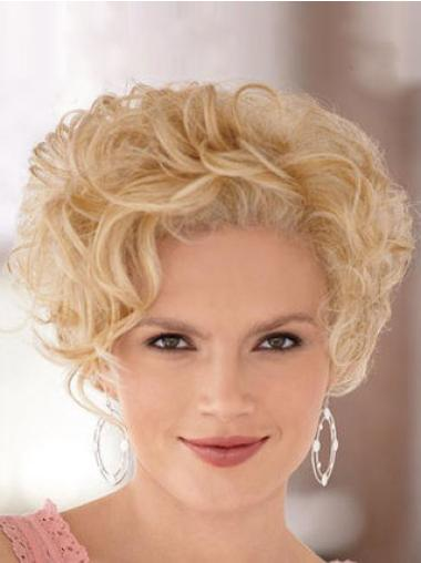 Lace Front Blonde Curly Ideal Short Wigs