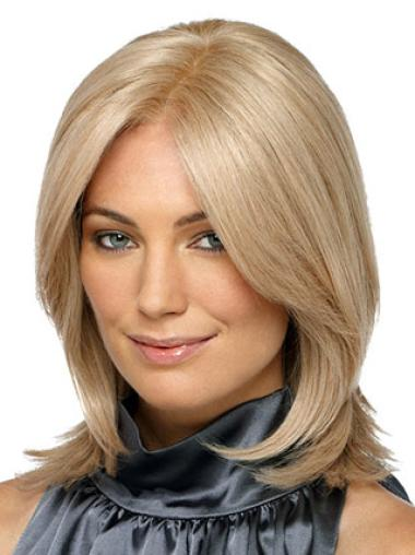 Fashionable Blonde Straight Shoulder Length Synthetic Wigs