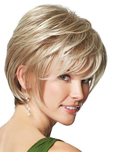 Nice Blonde Straight Short Synthetic Wigs