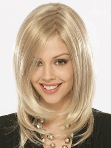 Popular Blonde Straight Shoulder Length Synthetic Wigs