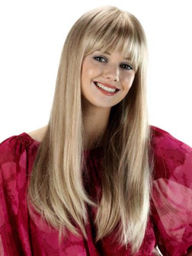 Trendy Blonde Straight Long Synthetic Wigs